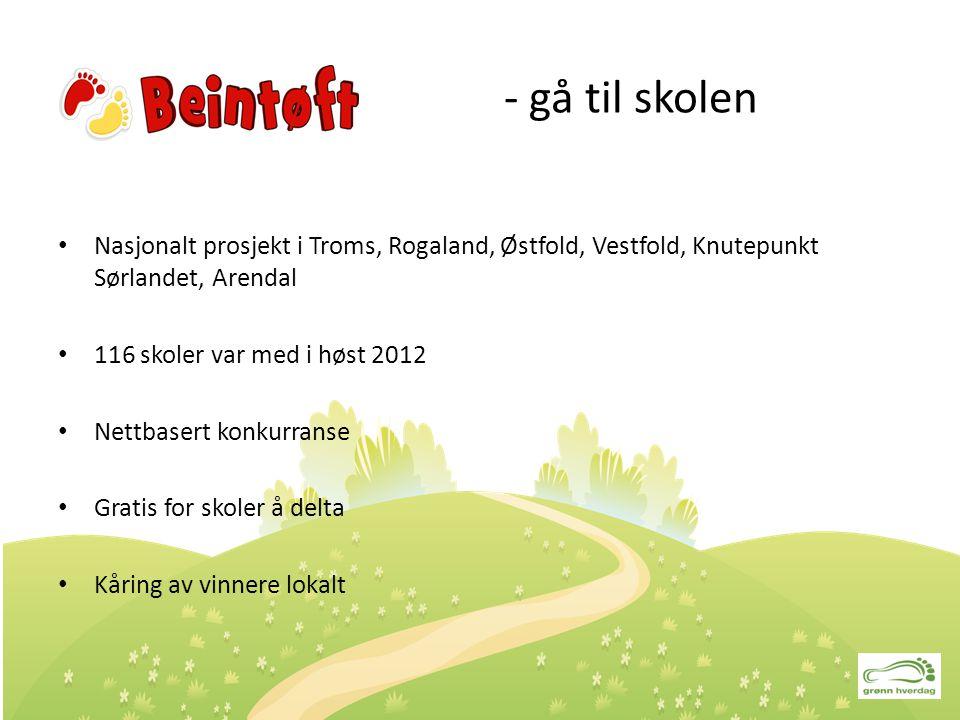 - gå til skolen Nasjonalt prosjekt i Troms, Rogaland, Østfold, Vestfold, Knutepunkt Sørlandet, Arendal.