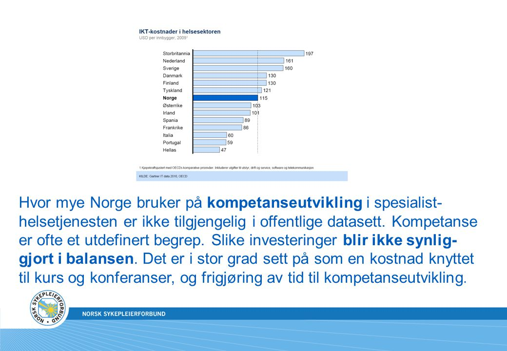Hvor mye Norge bruker på kompetanseutvikling i spesialist-helsetjenesten er ikke tilgjengelig i offentlige datasett. Kompetanse er ofte et utdefinert begrep. Slike investeringer blir ikke synlig-gjort i balansen. Det er i stor grad sett på som en kostnad knyttet til kurs og konferanser, og frigjøring av tid til kompetanseutvikling.