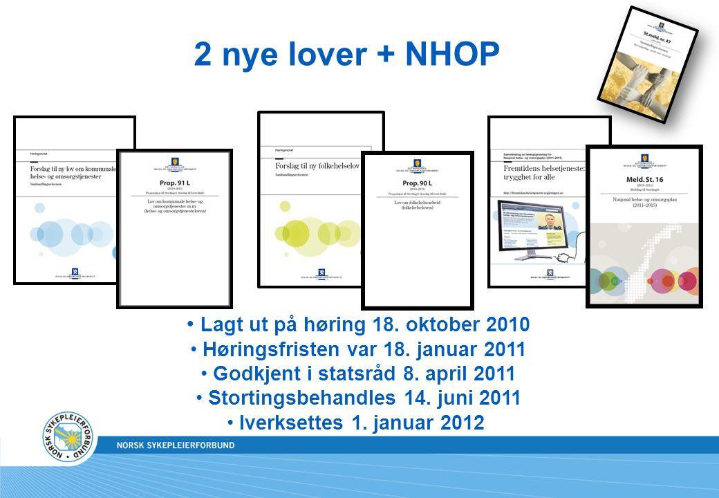 2 nye lover + NHOP Lagt ut på høring 18. oktober 2010
