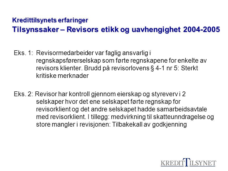Kredittilsynets erfaringer Tilsynssaker – Revisors etikk og uavhengighet 2004-2005