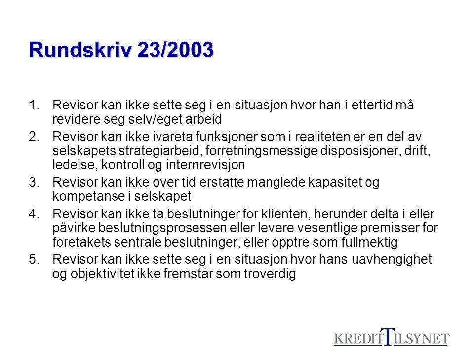 Rundskriv 23/2003 Revisor kan ikke sette seg i en situasjon hvor han i ettertid må revidere seg selv/eget arbeid.