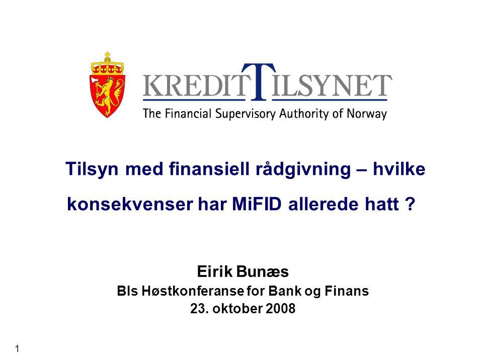 Eirik Bunæs BIs Høstkonferanse for Bank og Finans 23. oktober 2008