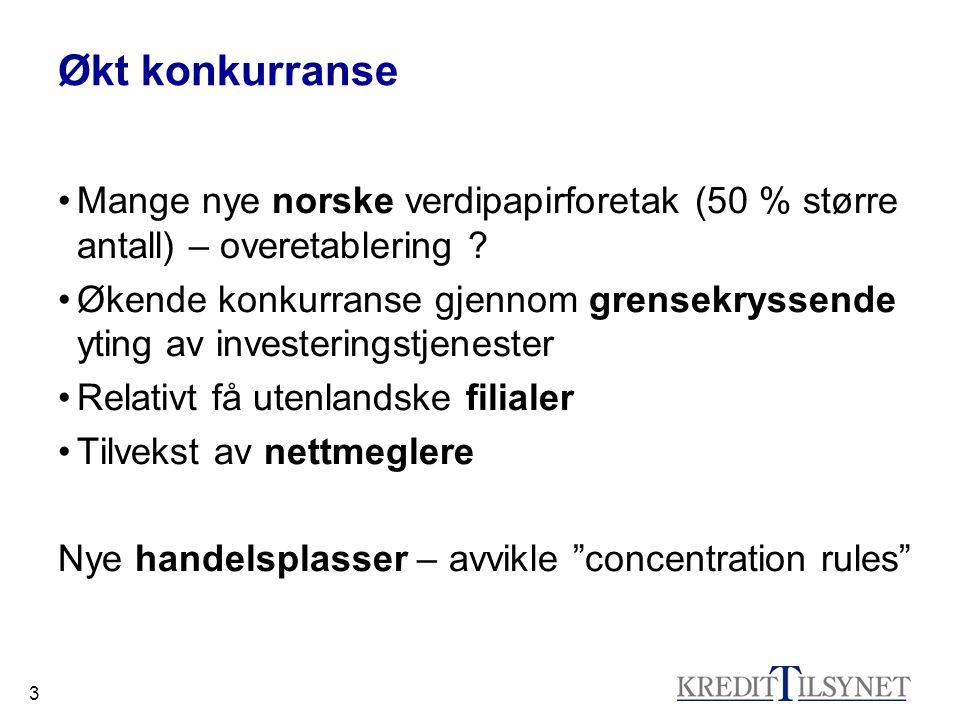 Økt konkurranse Mange nye norske verdipapirforetak (50 % større antall) – overetablering