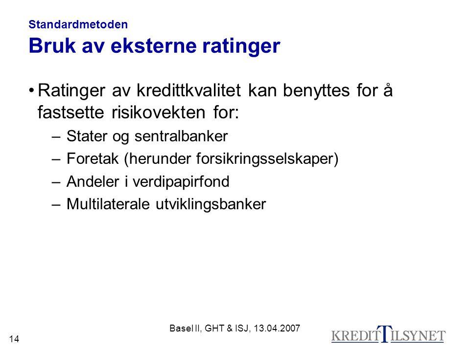 Standardmetoden Bruk av eksterne ratinger