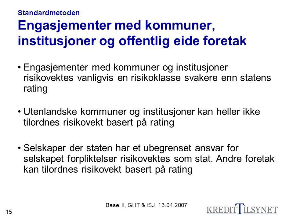 Standardmetoden Engasjementer med kommuner, institusjoner og offentlig eide foretak