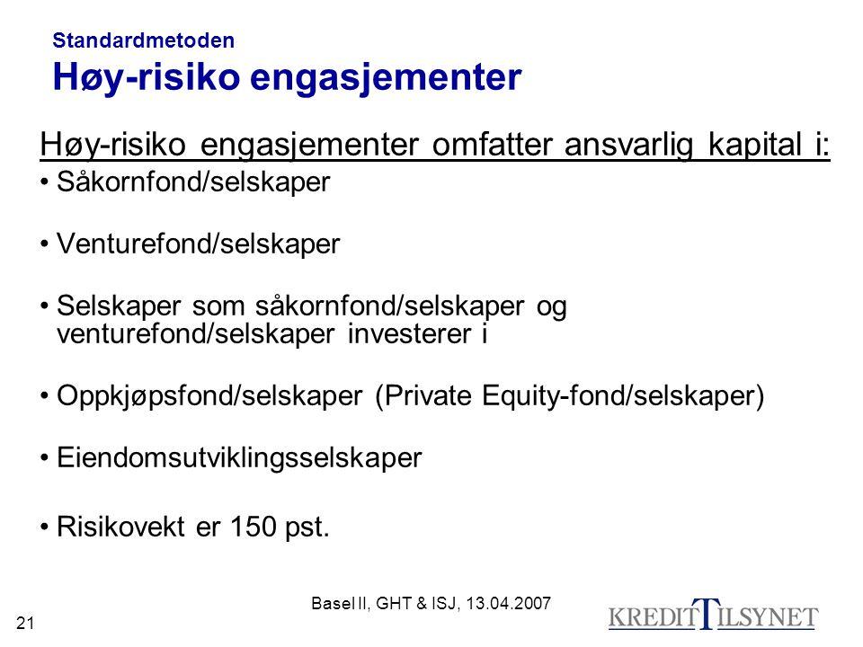 Standardmetoden Høy-risiko engasjementer