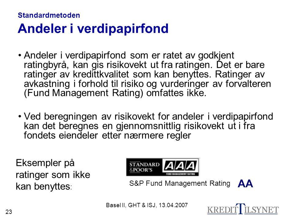 Standardmetoden Andeler i verdipapirfond