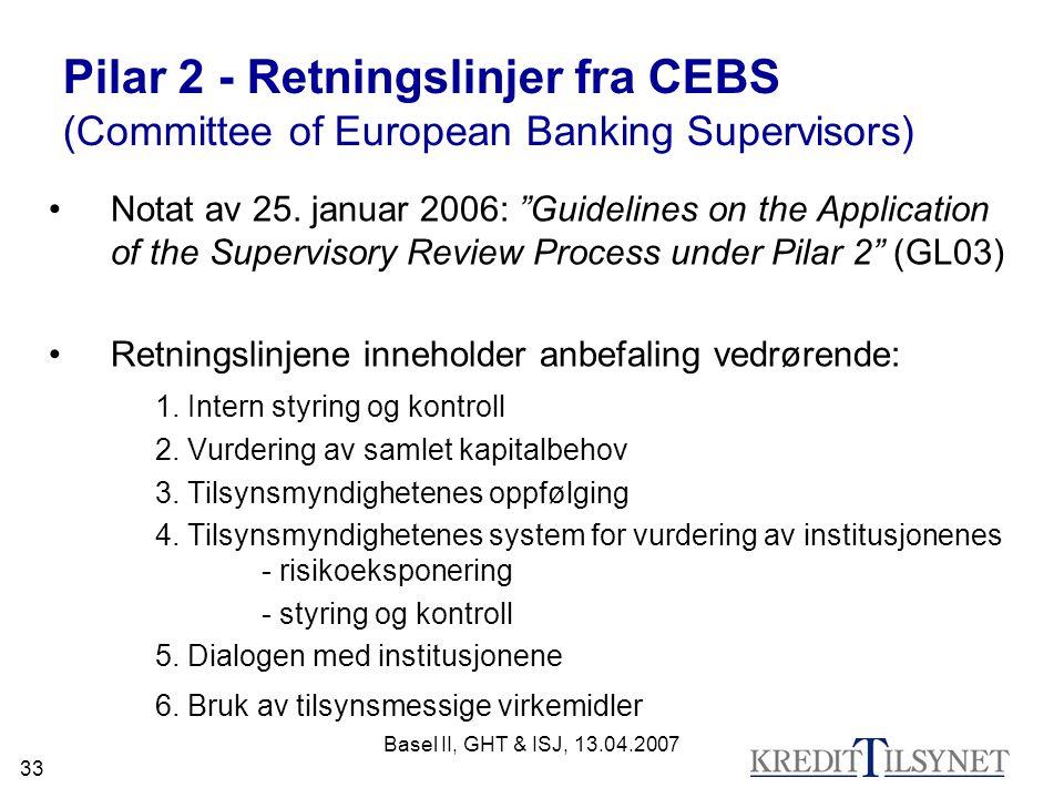 Pilar 2 - Retningslinjer fra CEBS (Committee of European Banking Supervisors)