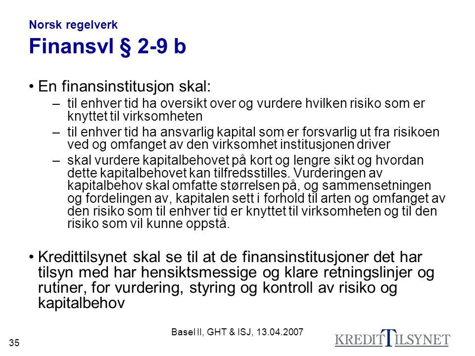 Norsk regelverk Finansvl § 2-9 b