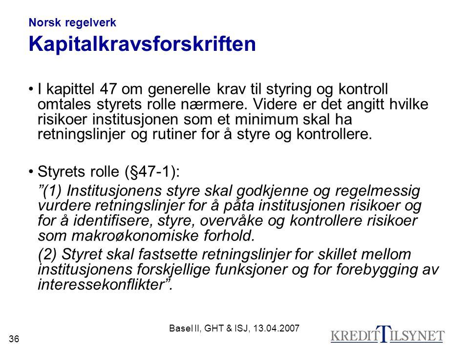 Norsk regelverk Kapitalkravsforskriften