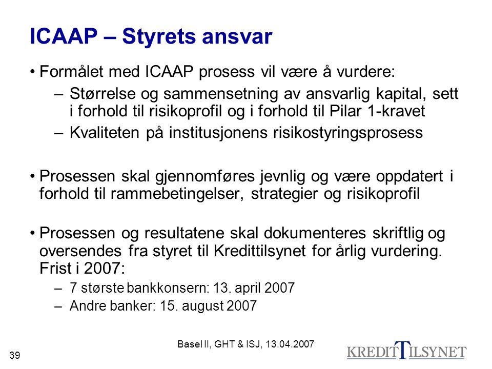 ICAAP – Styrets ansvar Formålet med ICAAP prosess vil være å vurdere: