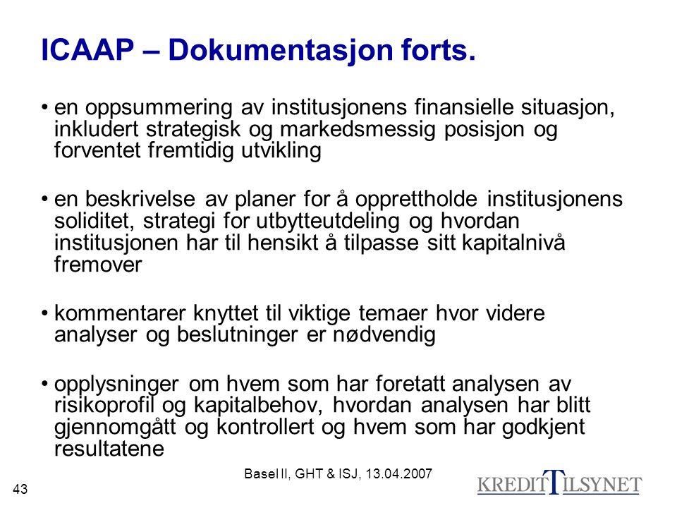 ICAAP – Dokumentasjon forts.