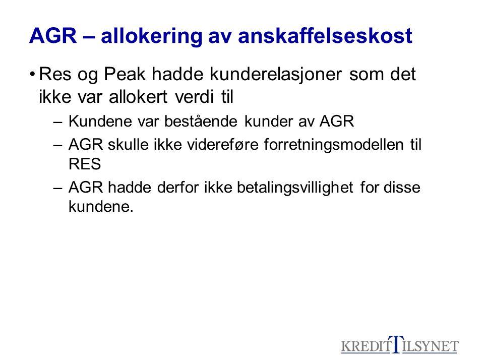 AGR – allokering av anskaffelseskost