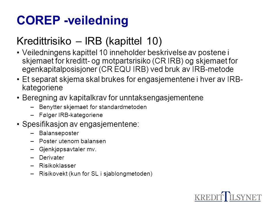 COREP -veiledning Kredittrisiko – IRB (kapittel 10)