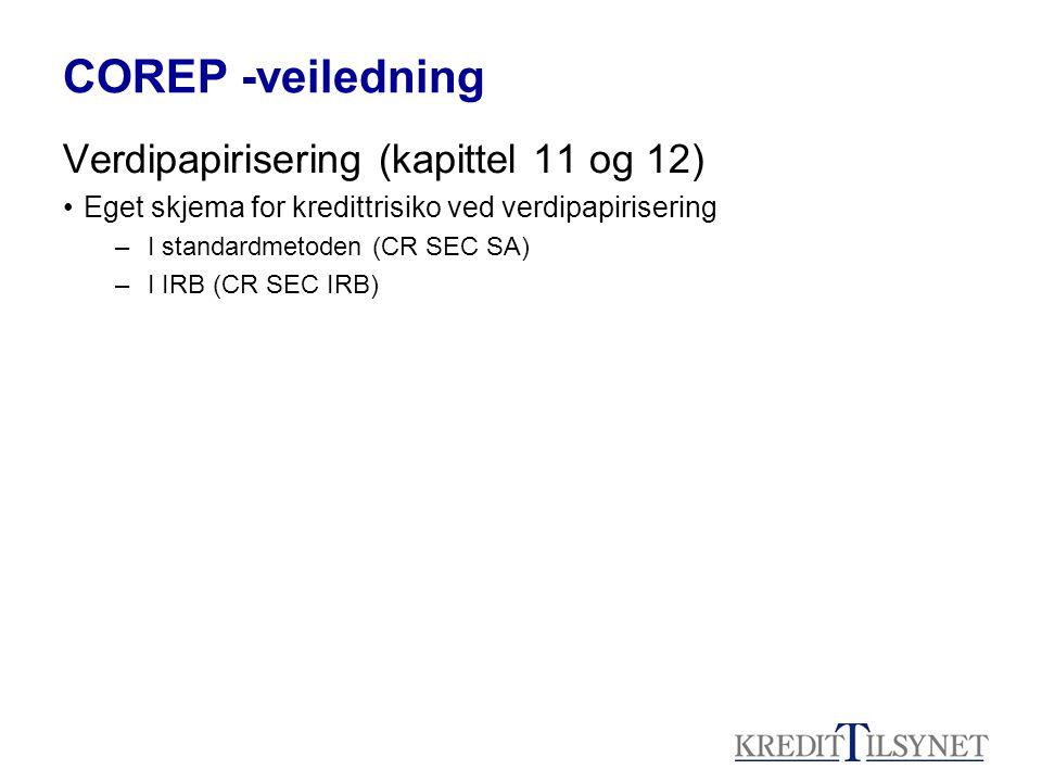 COREP -veiledning Verdipapirisering (kapittel 11 og 12)