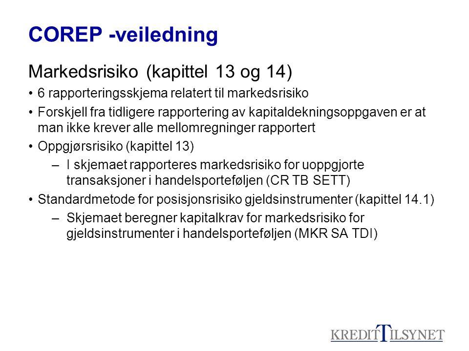COREP -veiledning Markedsrisiko (kapittel 13 og 14)