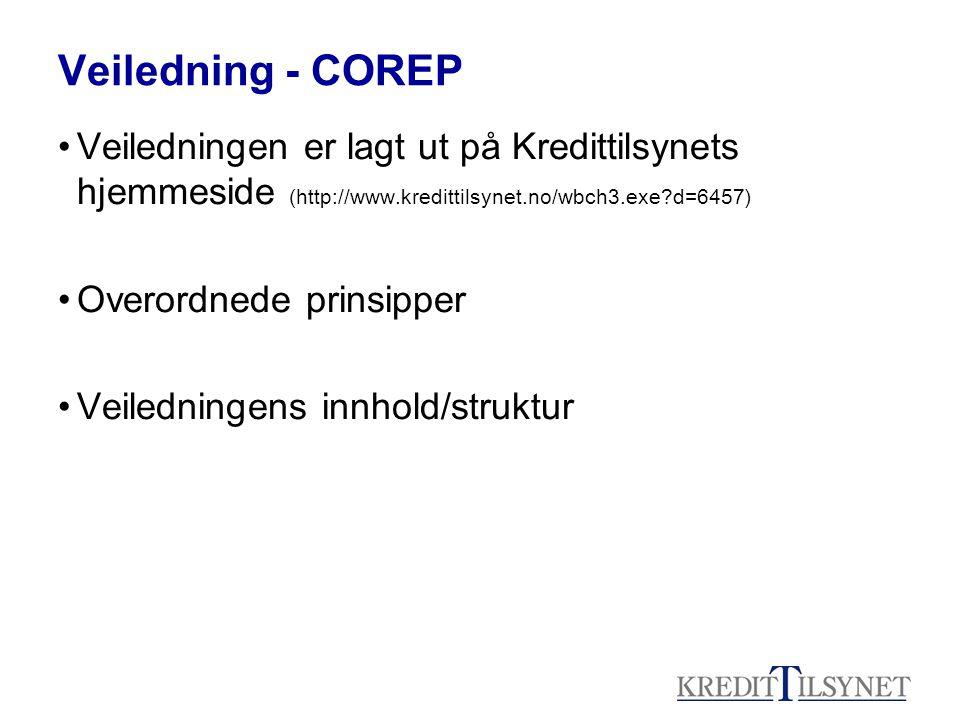Veiledning - COREP Veiledningen er lagt ut på Kredittilsynets hjemmeside (http://www.kredittilsynet.no/wbch3.exe d=6457)