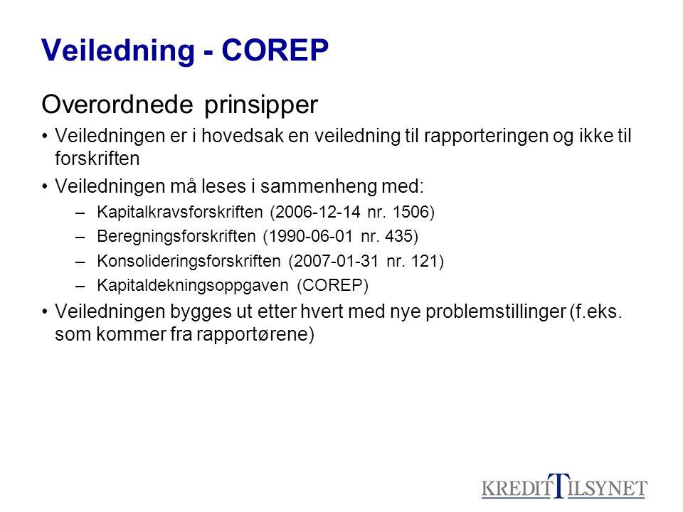 Veiledning - COREP Overordnede prinsipper