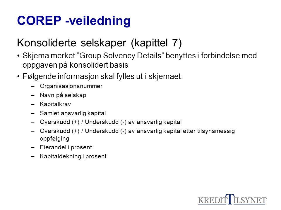 COREP -veiledning Konsoliderte selskaper (kapittel 7)