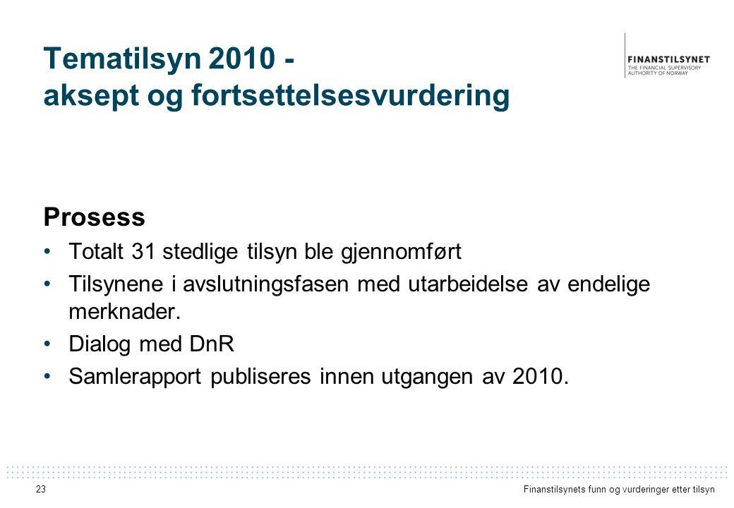 Tematilsyn 2010 - aksept og fortsettelsesvurdering