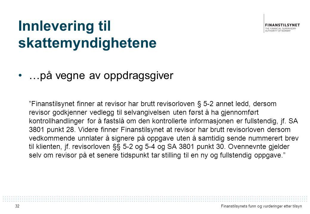 Innlevering til skattemyndighetene