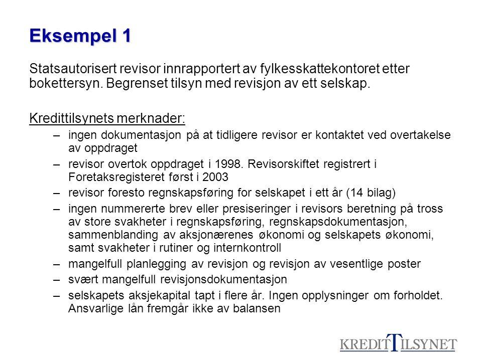 Eksempel 1 Statsautorisert revisor innrapportert av fylkesskattekontoret etter bokettersyn. Begrenset tilsyn med revisjon av ett selskap.
