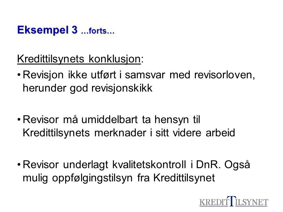 Eksempel 3 …forts… Kredittilsynets konklusjon: Revisjon ikke utført i samsvar med revisorloven, herunder god revisjonskikk.