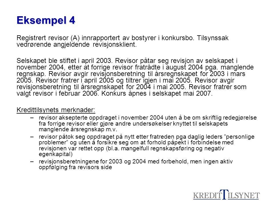 Eksempel 4 Registrert revisor (A) innrapportert av bostyrer i konkursbo. Tilsynssak vedrørende angjeldende revisjonsklient.