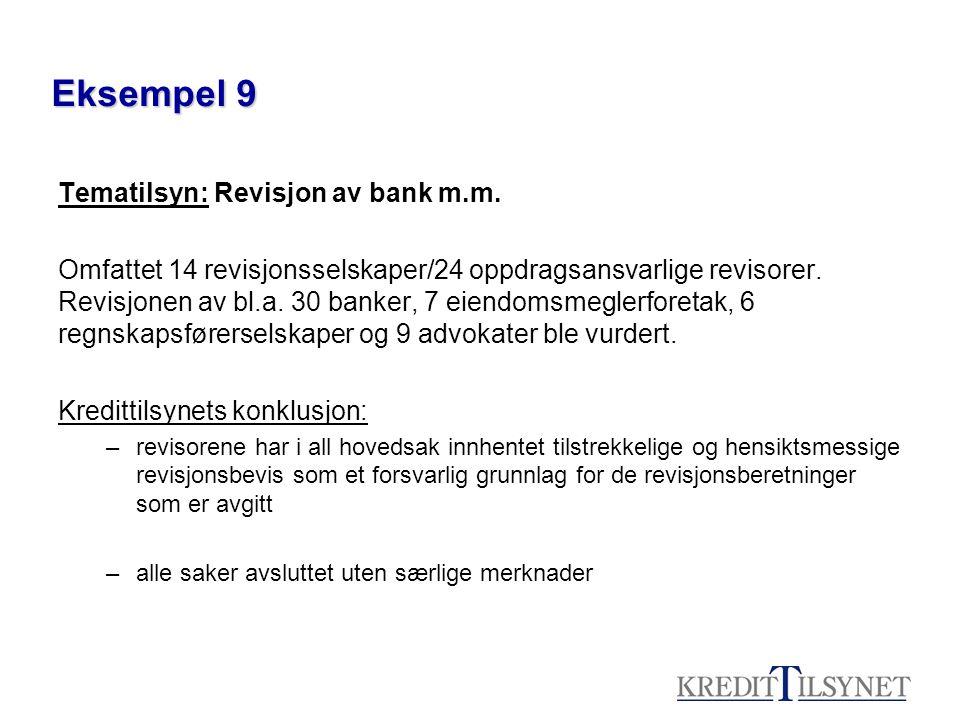 Eksempel 9 Tematilsyn: Revisjon av bank m.m.