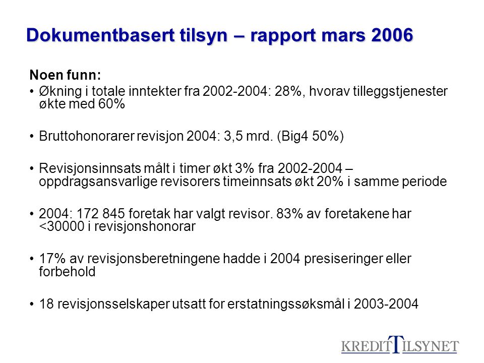 Dokumentbasert tilsyn – rapport mars 2006