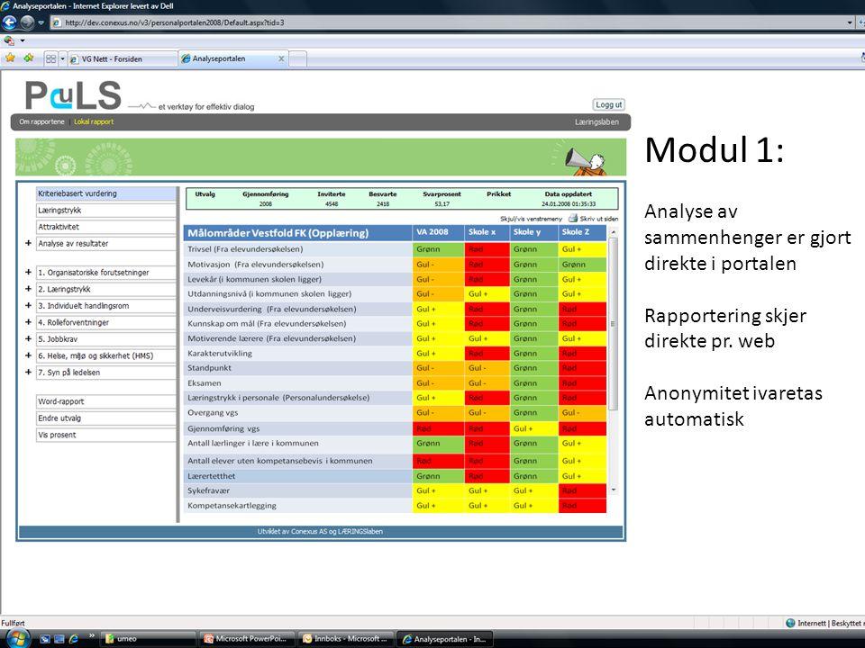 Modul 1: Analyse av sammenhenger er gjort direkte i portalen
