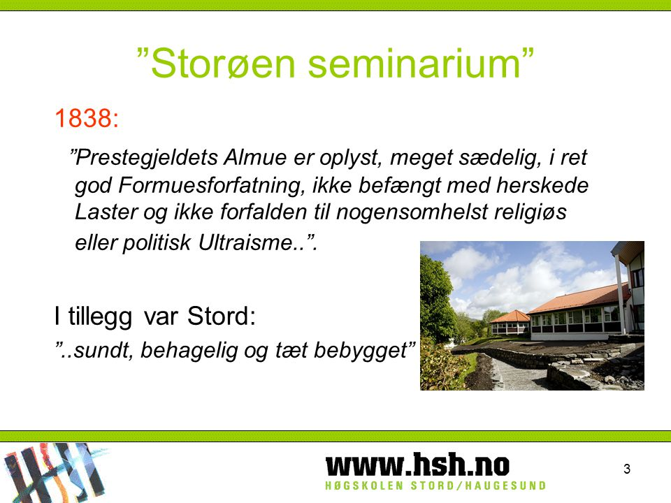 Storøen seminarium 1838: