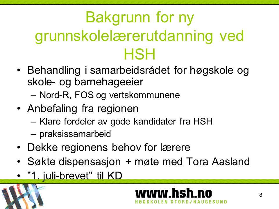 Bakgrunn for ny grunnskolelærerutdanning ved HSH
