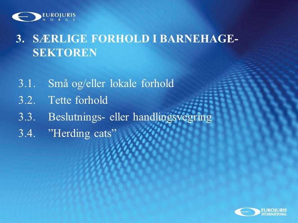SÆRLIGE FORHOLD I BARNEHAGE-SEKTOREN