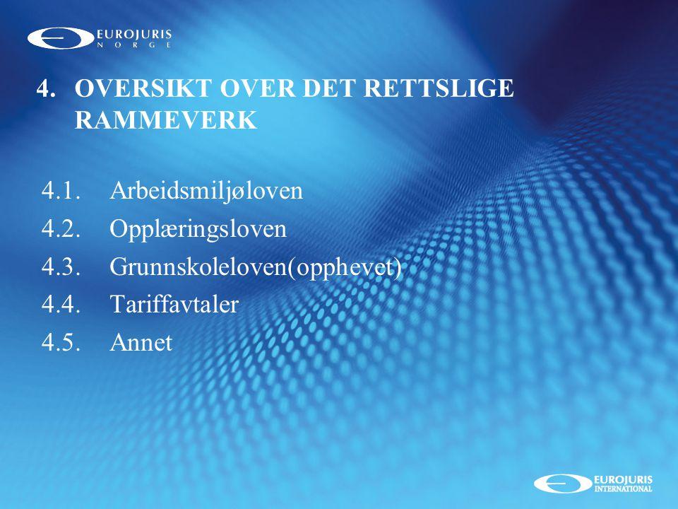 4. OVERSIKT OVER DET RETTSLIGE RAMMEVERK
