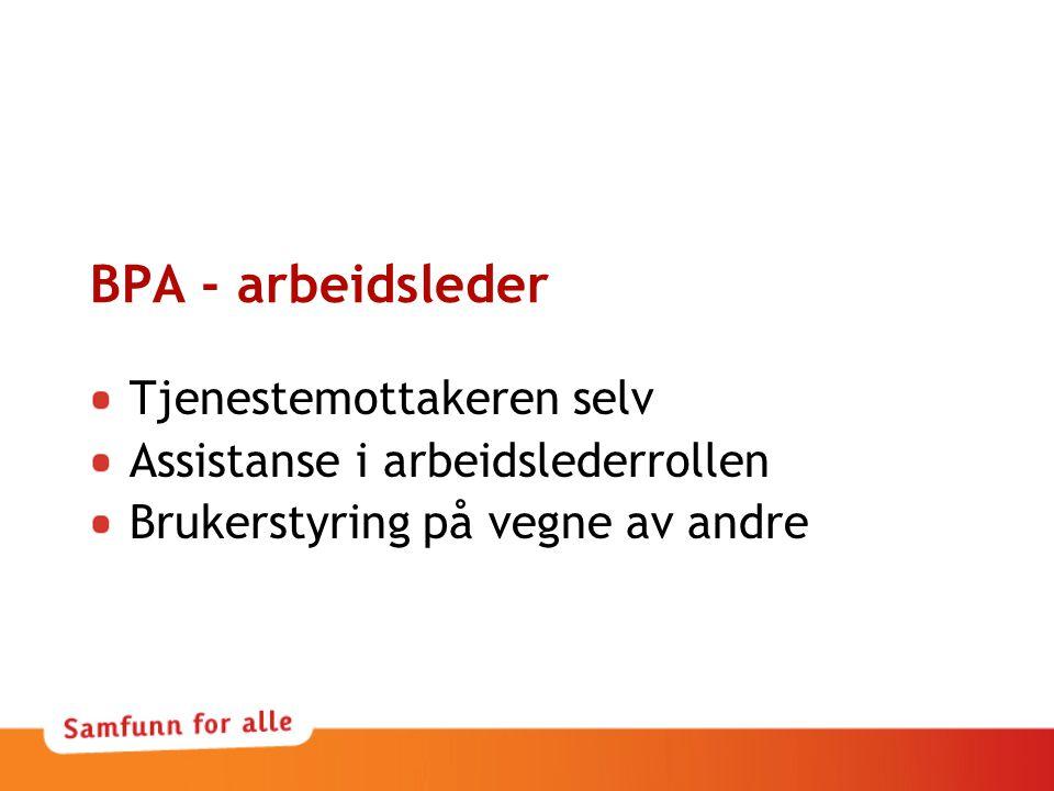 BPA - arbeidsleder Tjenestemottakeren selv