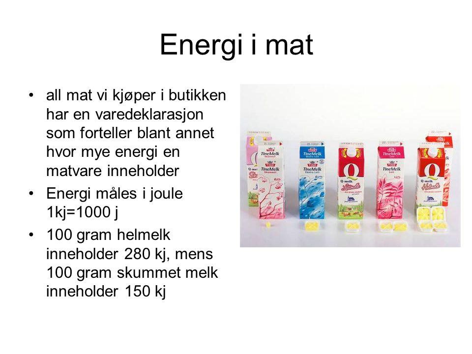 Energi i mat all mat vi kjøper i butikken har en varedeklarasjon som forteller blant annet hvor mye energi en matvare inneholder.
