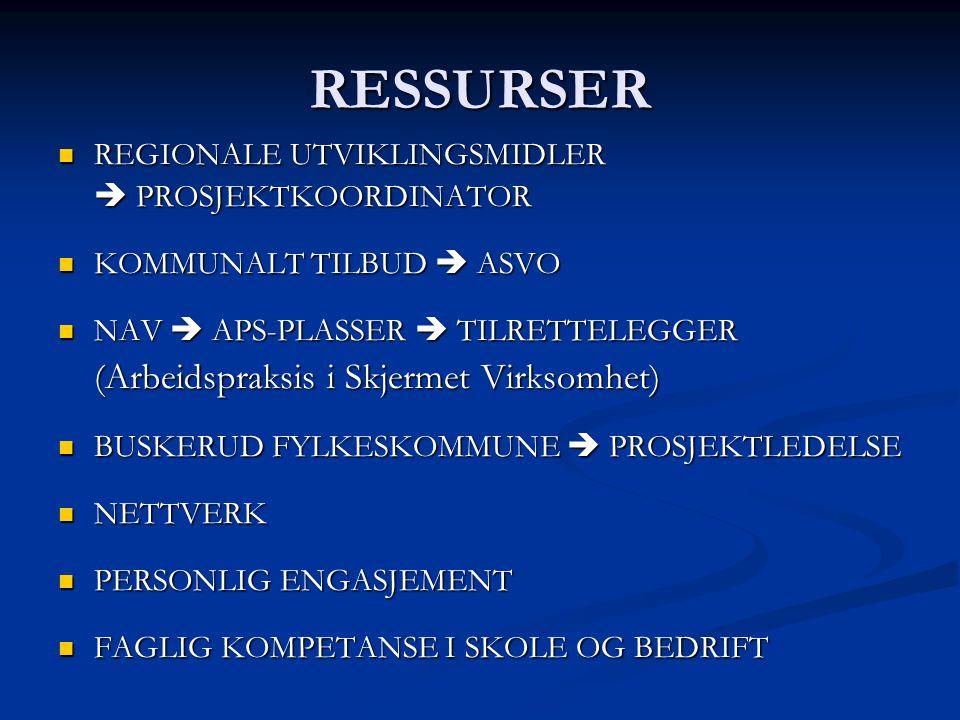 RESSURSER (Arbeidspraksis i Skjermet Virksomhet)
