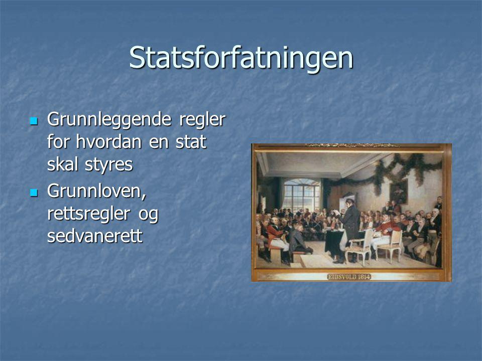 Statsforfatningen Grunnleggende regler for hvordan en stat skal styres