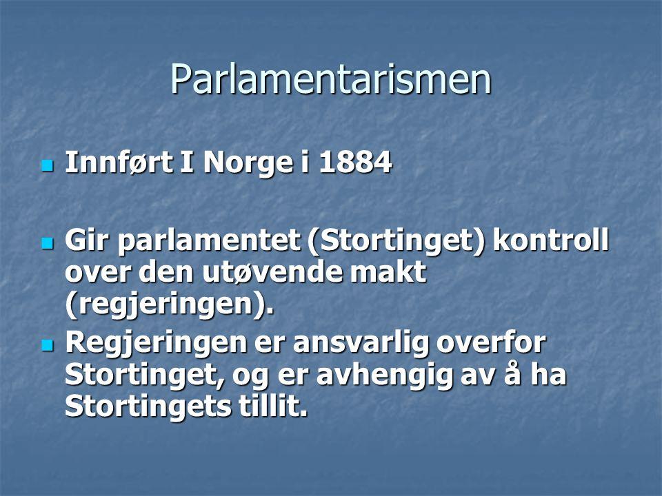 Parlamentarismen Innført I Norge i 1884