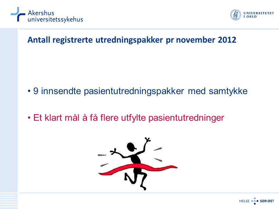 Antall registrerte utredningspakker pr november 2012