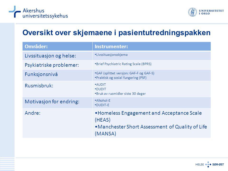 Oversikt over skjemaene i pasientutredningspakken