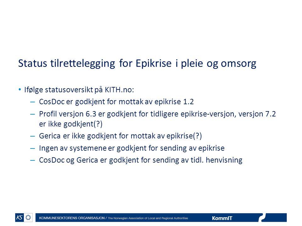 Status tilrettelegging for Epikrise i pleie og omsorg