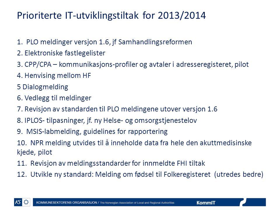 Prioriterte IT-utviklingstiltak for 2013/2014