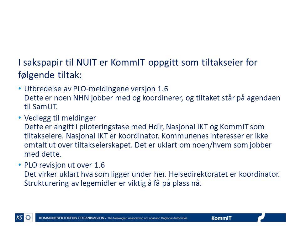I sakspapir til NUIT er KommIT oppgitt som tiltakseier for følgende tiltak: