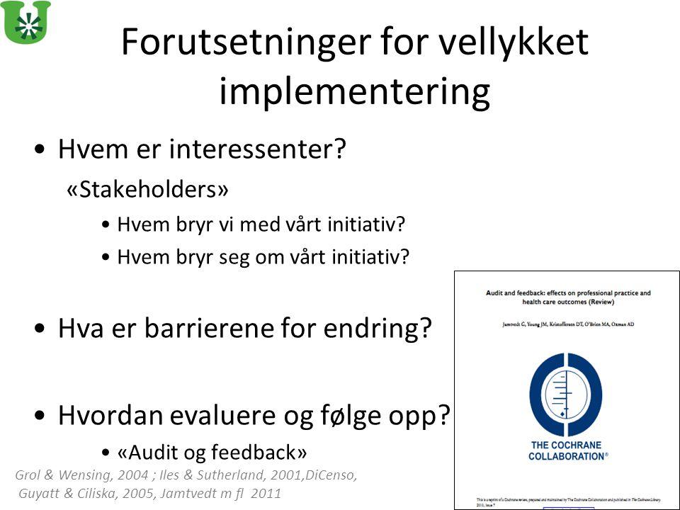 Forutsetninger for vellykket implementering