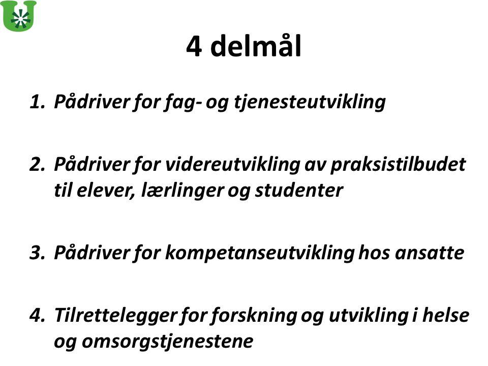 4 delmål Pådriver for fag- og tjenesteutvikling