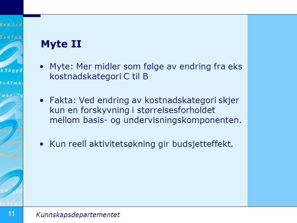 Myte II Myte: Mer midler som følge av endring fra eks kostnadskategori C til B.
