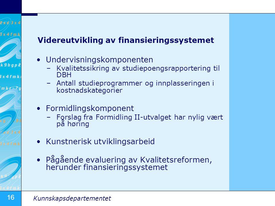 Videreutvikling av finansieringssystemet