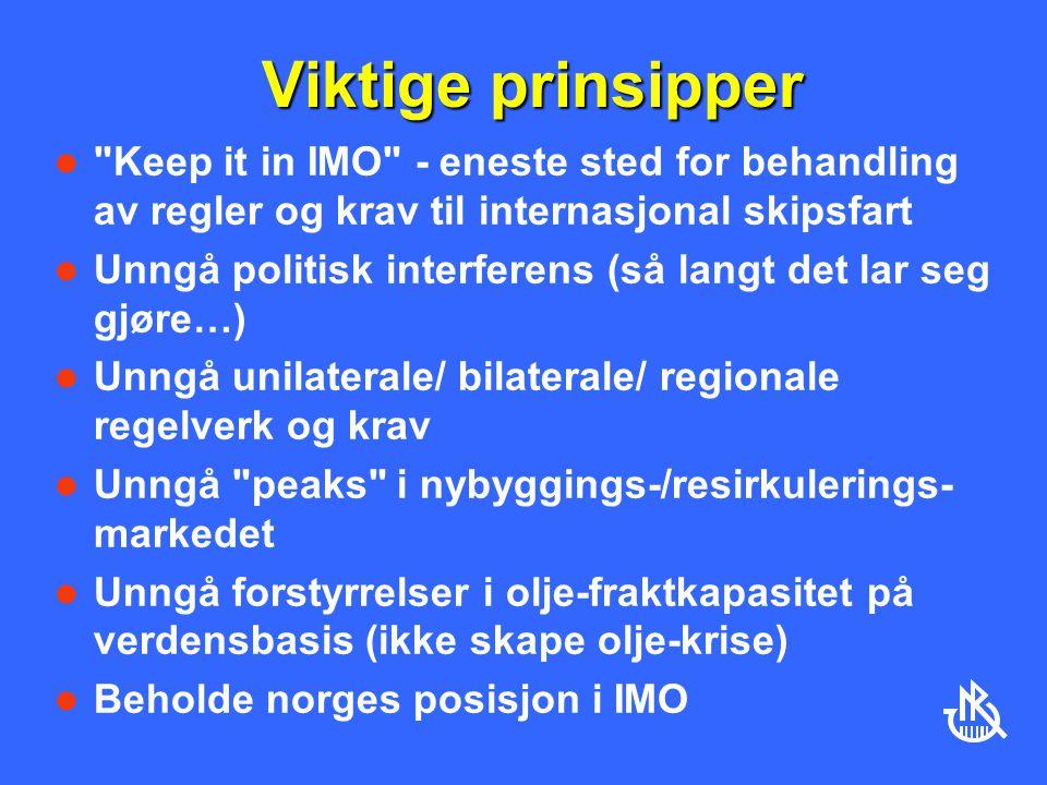 Viktige prinsipper Keep it in IMO - eneste sted for behandling av regler og krav til internasjonal skipsfart.